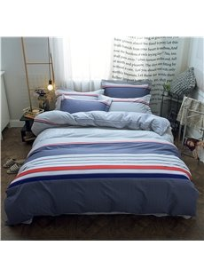 Simple Stripe Design Printed Cotton 4-Piece Bedding Sets/Duvet Covers