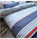 Simple Stripe Design Printed Cotton 4-Piece Bedding Sets/Duvet Covers