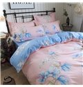 Elegant Flower Printed Pink Cotton 4-Piece Bedding Sets/Duvet Covers