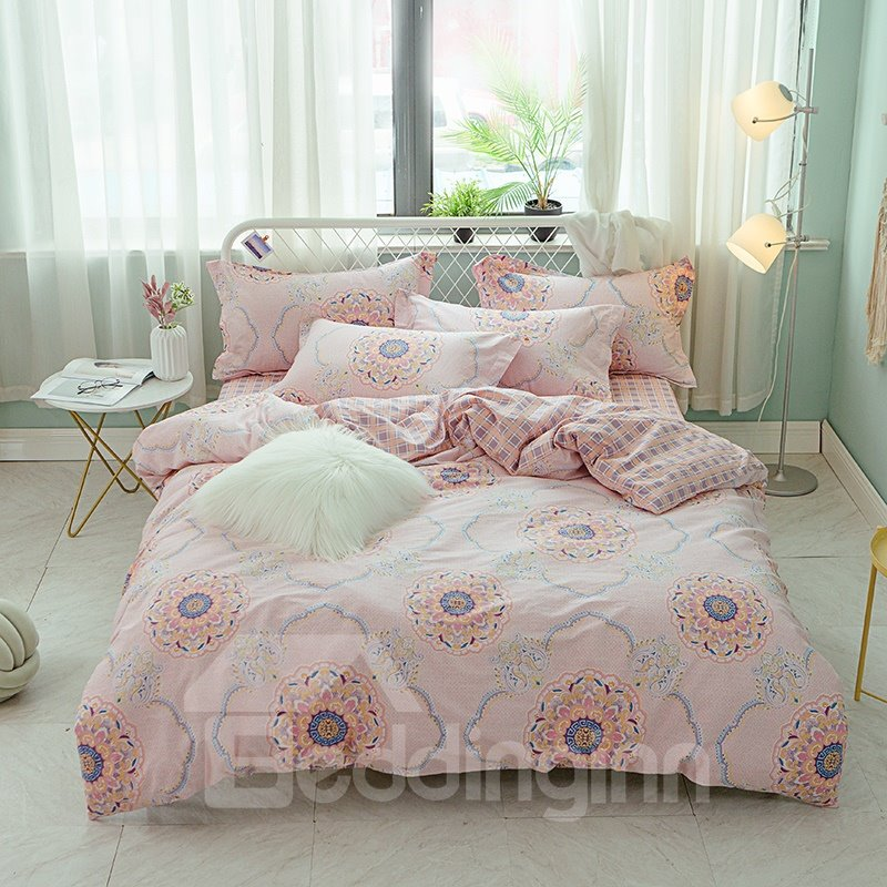 Sweet Pink Floral and Geometric Pattern Printed Cotton 4-Piece Bedding Sets/Duvet Covers