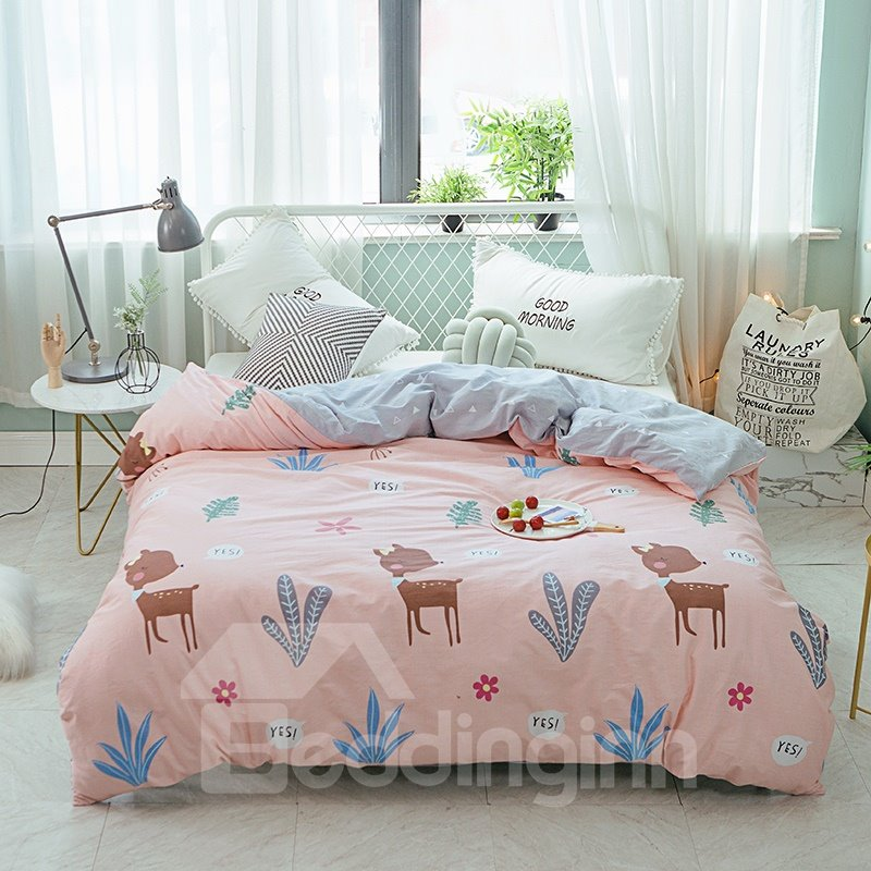 Cartoon Deer and Planet Printed Cotton 4-Piece Bedding Sets/Duvet Covers