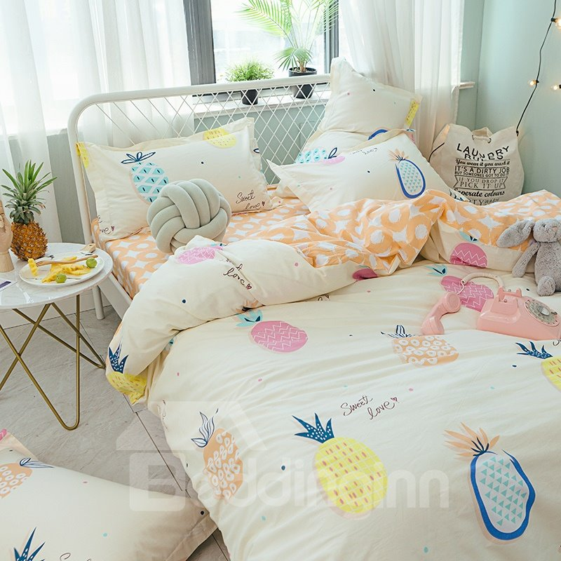 Cartoon Pineapple Printed Cotton 4-Piece Quilting Bedding Sets/Duvet Covers