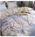 Geometric Pattern Light Purple Printed 4-Piece Cotton Bedding Sets/Duvet Covers