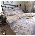 Geometric Pattern Light Purple Printed 4-Piece Cotton Bedding Sets/Duvet Covers