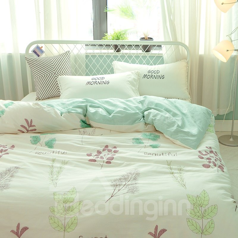 Floral Pattern Reactive Printed Cotton Green 4-Piece Bedding Sets/Duvet Covers