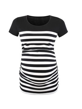 Maternity Short Sleeve Strip T-Shirt