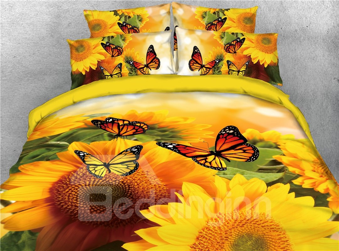 Warm Sunflower and Butterflies Printed 4-Piece Yellow Bedding Sets/Duvet Covers