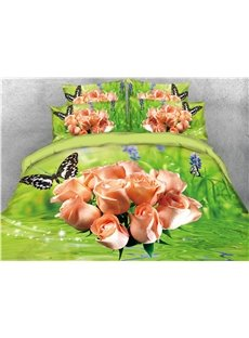 A Bunch of Pink Roses and Butterflies Printed 4-Piece 3D Green Bedding Sets/Duvet Covers