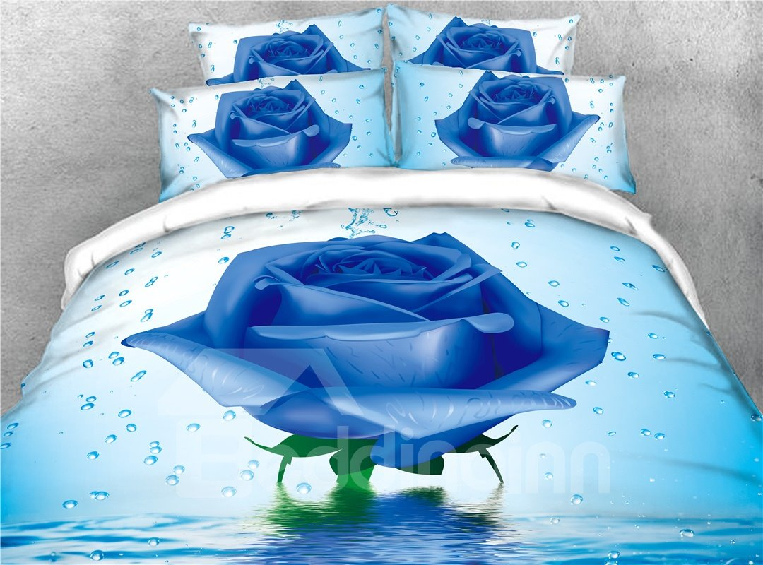 Vivid Blue Rose and Water Printed 4-Piece 3D Bedding Sets/Duvet Covers