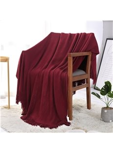 Fringes Design Solid Red Simple Style Polyester Blanket