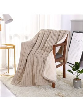 Solid Color Simple Style White and Coffee Polyester Blanket
