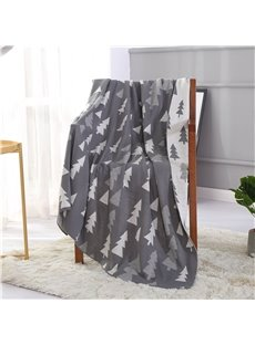 Simple Pine Tree Printed Grey Polyester Fluffy Blanket