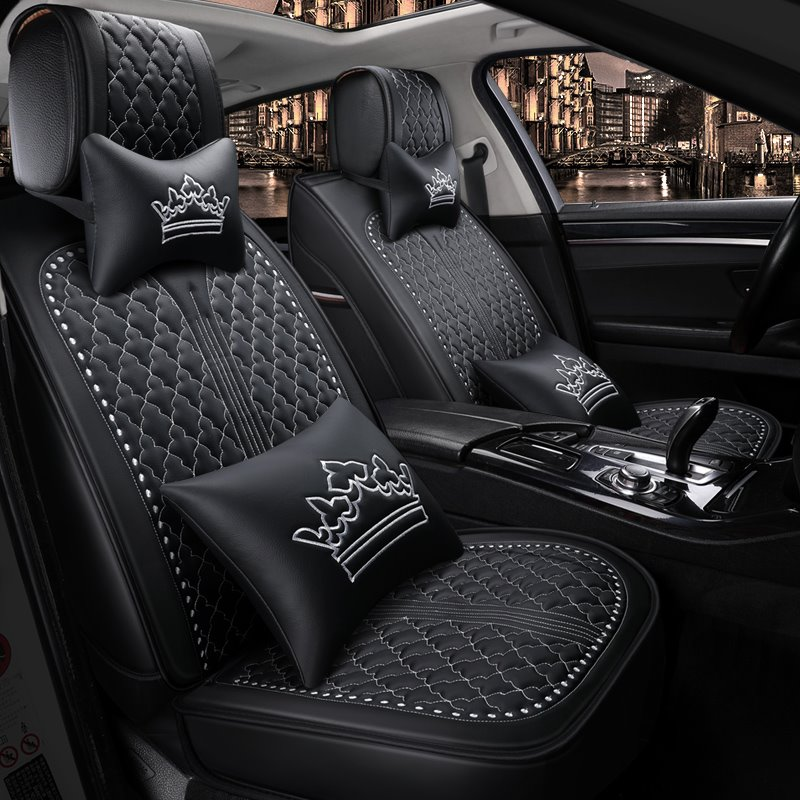 Design Crown Pattern Universal Fit Car Seat Covers Pic