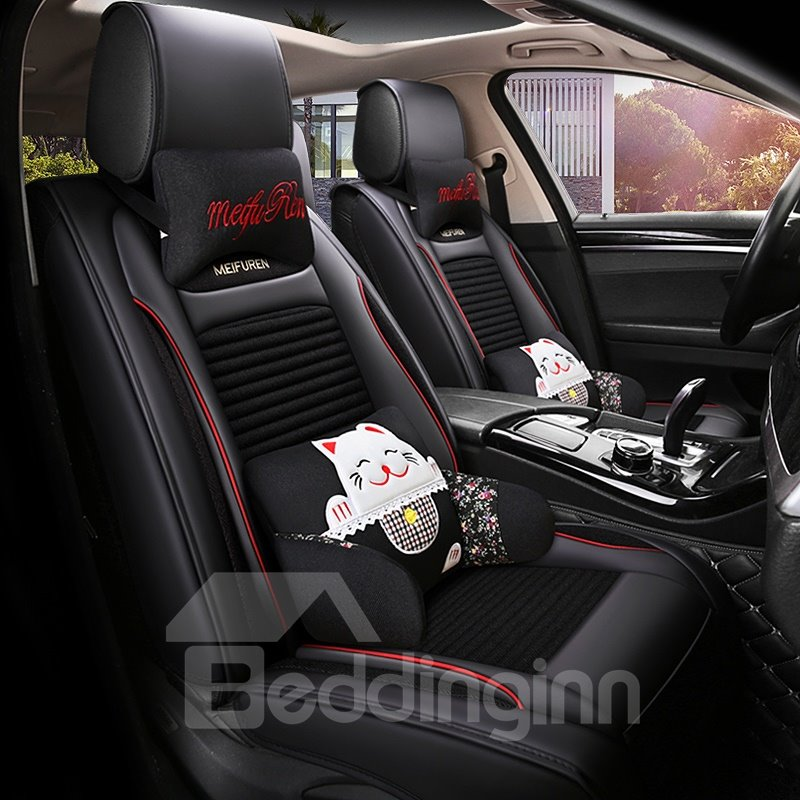 Creative Fortune Cat Pattern Universal Fit Car Seat Covers