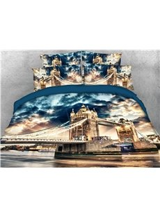London Tower Bridge Printed 4-Piece 3D Bedding Sets/Duvet Covers