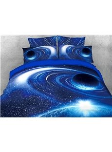 Blue Celestial Body Outer Space Printed 3D 4-Piece Bedding Sets/Duvet Covers