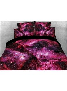 Red Nebula Mysterious Galaxy Printed 3D 4-Piece Bedding Sets/Duvet Covers