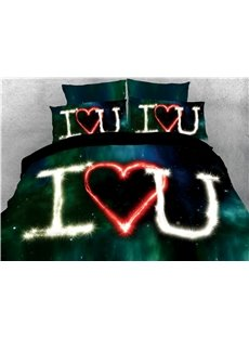 I Love U Printed Galaxy Dark Green 3D 4-Piece Bedding Sets/Duvet Covers