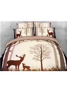 Tree and Deer Shadow Printed 4-Piece 3D Bedding Sets/Duvet Covers