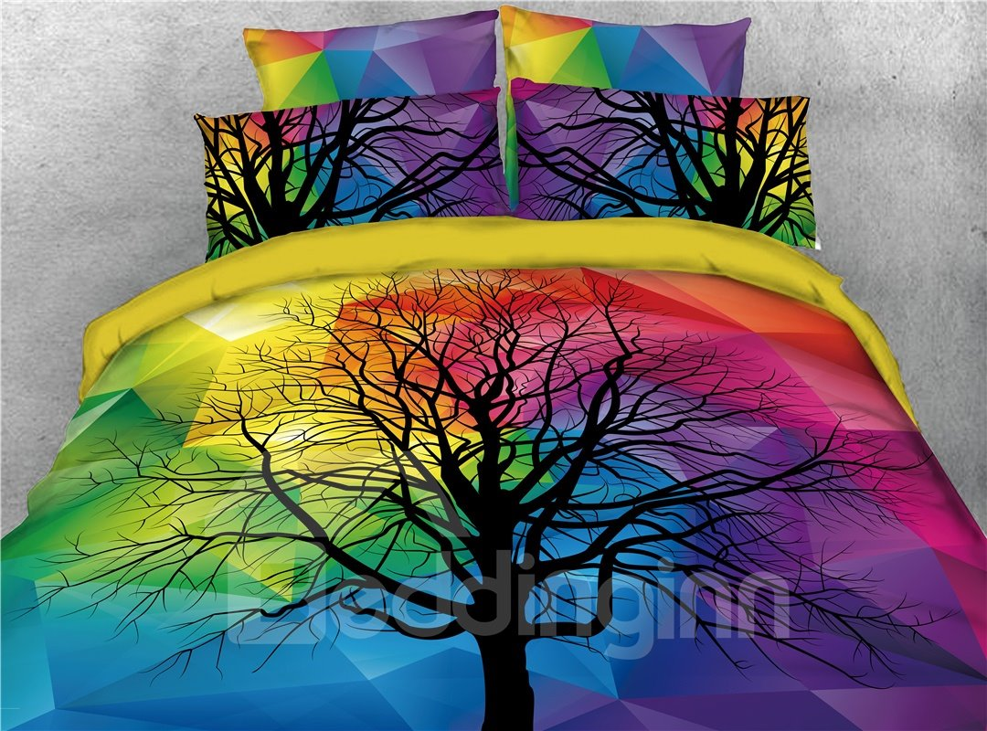 Black Tree and Rainbow Geometric Style Printed 4-Piece 3D Bedding Sets/Duvet Covers
