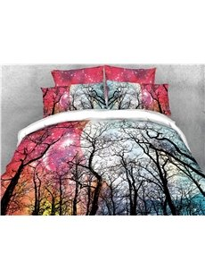 Forest and Moon Blinking Stars Printed 4-Piece 3D Bedding Sets/Duvet Covers