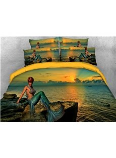 Mermaid and Sea Sunset Printed 4-Piece 3D Bedding Sets/Duvet Covers