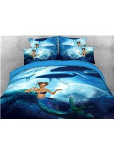 Mermaid and Whales Printed Blue Sea 4-Piece 3D Bedding Sets/Duvet Covers