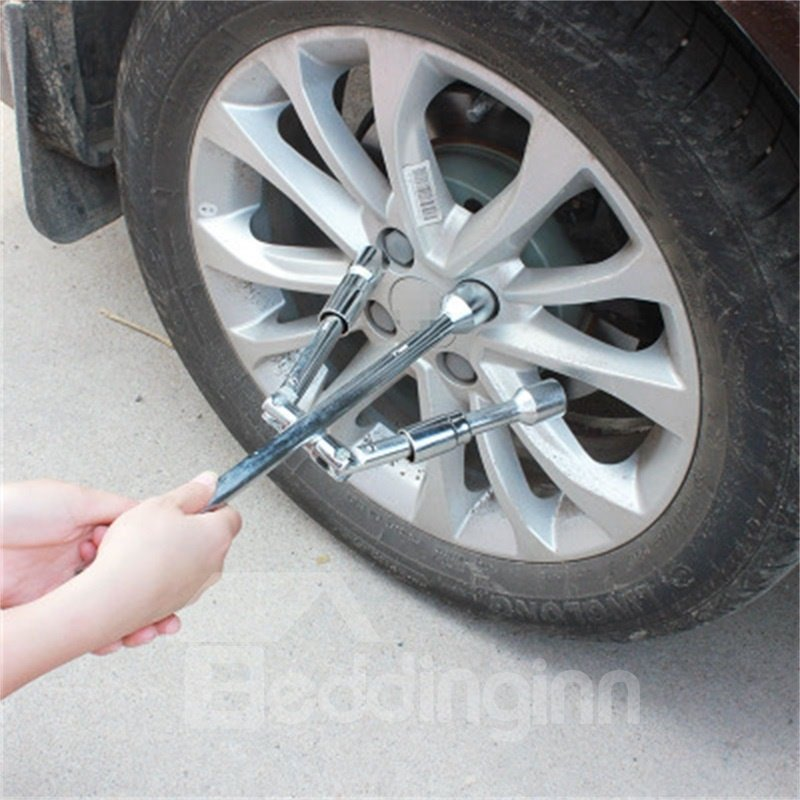 4 Way Cross Folding Automotive Sliding Tire Iron Tire Repair Wrench