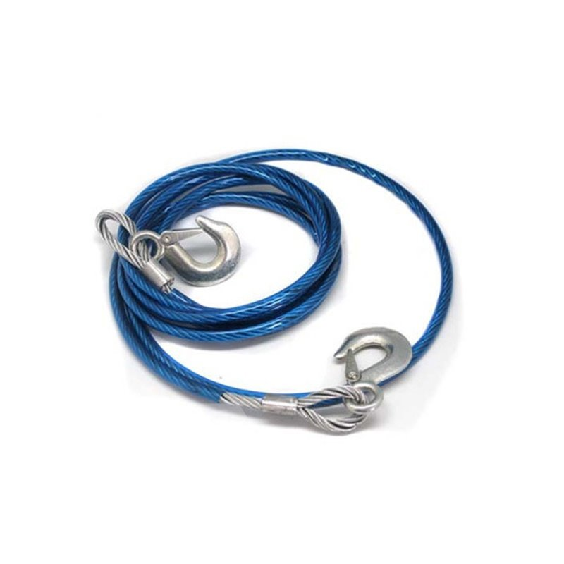 4M 5 Tons Steel Wire Tow Cable Tow Strap with Hooks for Heavy Duty Car Emergency