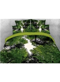 Green Forest Tree Printed 4-Piece 3D Bedding Sets/Duvet Covers