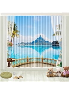 3D Seaside Island Blue Sky Printed Curtain
