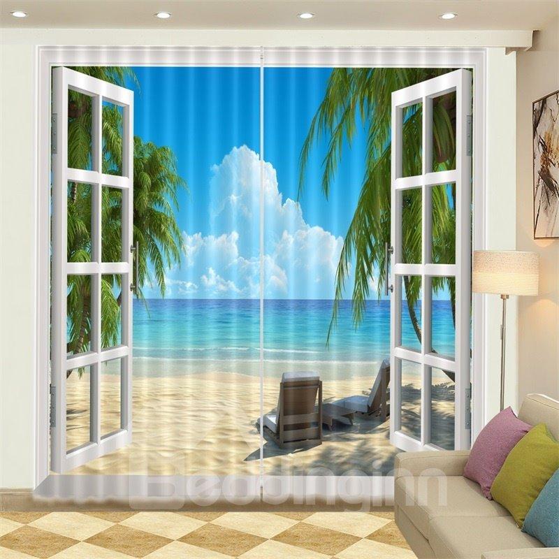 3D White Cloud Seaside Beach Blue Sky Printed Curtain