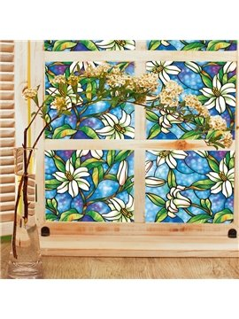 Stained Glass No-Glue Self Static Cling Floral Painting Window Film