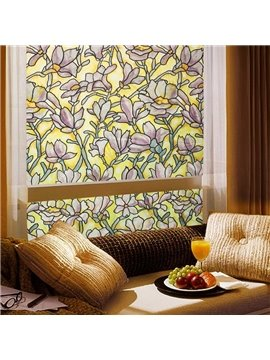Static Orchid Floral Decorative Privacy Window Films for Glass