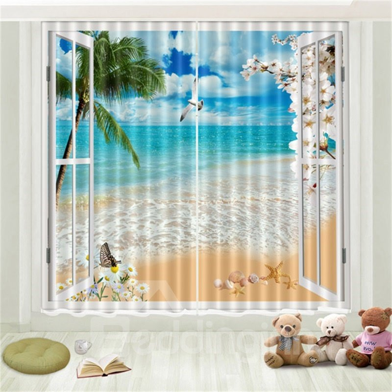 3D Tropical Beach Sea Gull Blue Sky Coconut Palm Printed Curtain