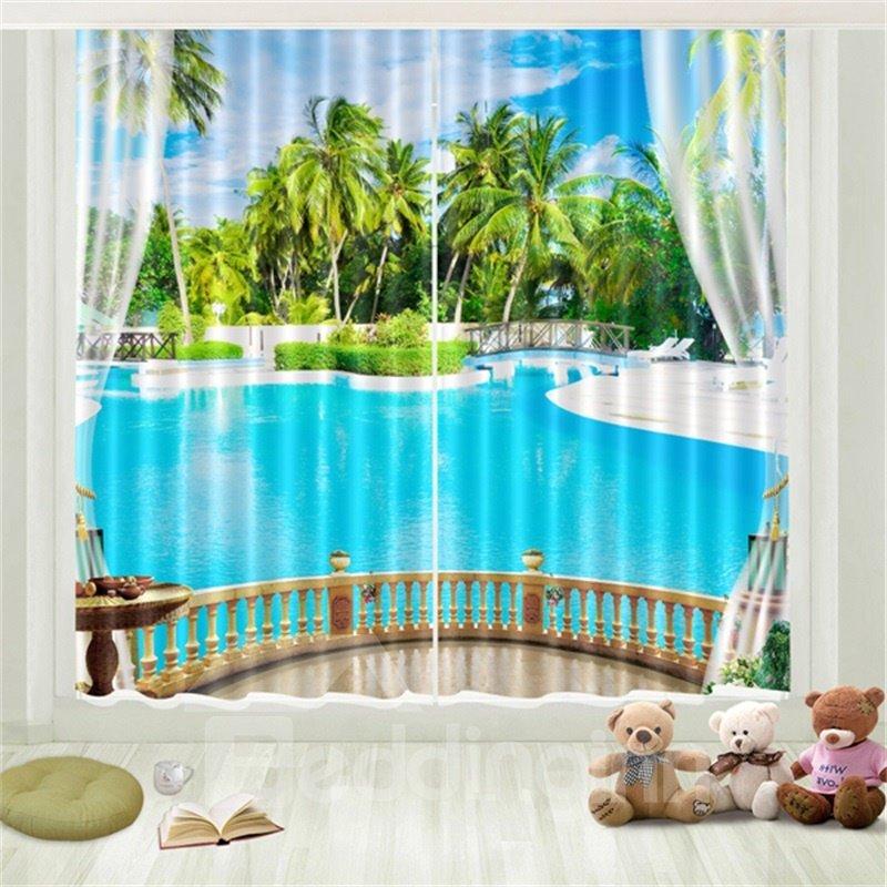 3D Tropical Travel Seaside Beach Blue Sky White Cloud Coconut Palm Printed Curtain