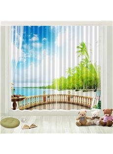 3D Tropical Coconut Palm Seaside Beach Blue Sky White Cloud Printed Curtain