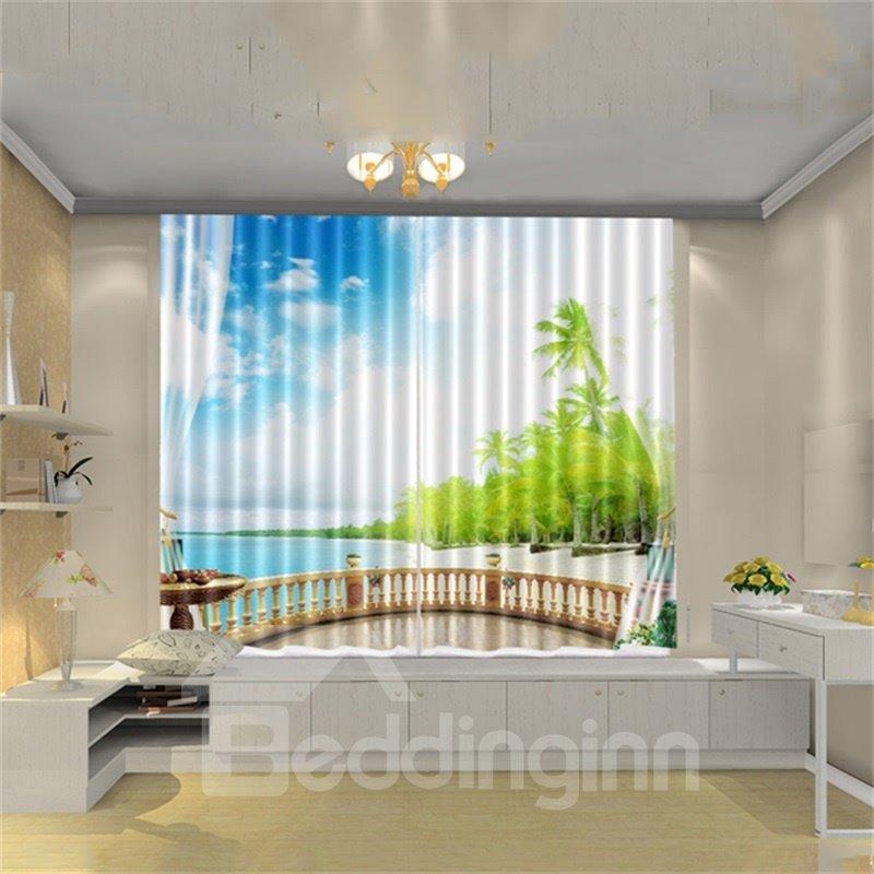 3D Tropical Coconut Palm Seaside Beach Blue Sky White Cloud Printed Curtain