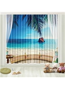3D Blue Sky Green Coconut Seaside Island Printed Curtain