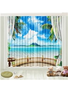 3D Blue Sky White Cloud Seaside Island Printed Curtain