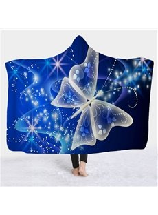 Butterfly Printed Fleece Winter TV Computer Throwing 3D Hooded Blanket