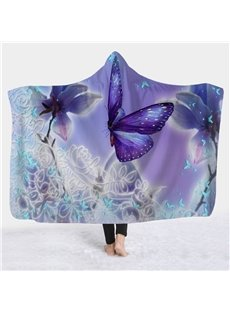 Purple Butterfly Printed Winter TV Computer Throwing 3D Hooded Blanket