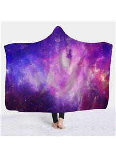 Galaxy Sky Print Super Soft Sherpa Fleece 3D Hooded Blanket