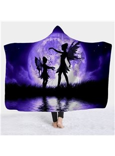 Fairies and Moon Purple Printed Super Soft Sherpa Fleece 3D Flatted Blanket
