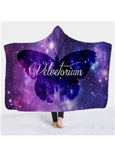 Butterfly and Galaxy Printed Wearable 3D Fleece Hooded Blanket