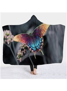 Butterfly and Flower Printed Super Soft Sherpa Fleece 3D Hooded Blanket
