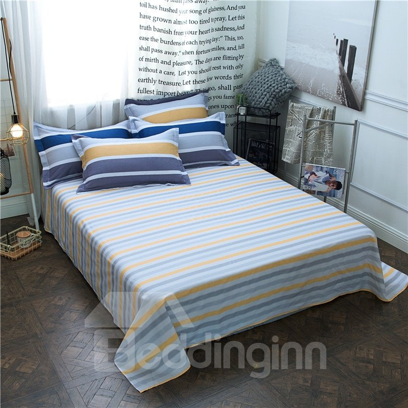 Classic Stripes Style Quilting 4-Piece Cotton Bedding Sets/Duvet Covers
