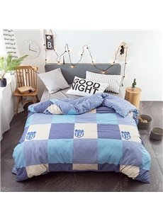 Simple Plaid Pattern 4-Piece Cotton Blue Bedding Sets/Duvet Covers
