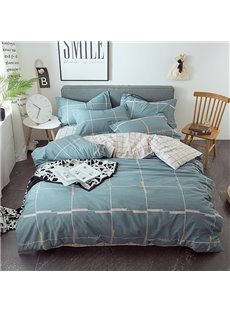 Simple Geometric Pattern Grey Cotton 4-Piece Bedding Sets/Duvet Covers