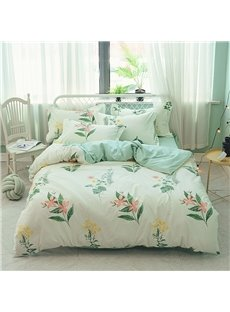 Orchid Floral Pattern Printed Cotton Green 4-Piece Bedding Sets/Duvet Covers
